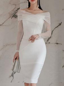 Bodycon Vestidos Polka Dot Branco Com Decote Em V Com Zíper Em Camadas Sexy Mangas Compridas Lápis Vestido