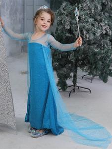 Kids Elsa Cosplay Frozen Blue Dress Тюль Детские косплей костюмы