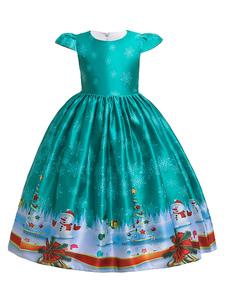أطفال عيد الميلاد تأثيري ثلج طباعة سماوي اللباس الأزرق