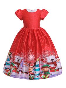 Disfraz de niños Carnaval Niños Navidad Cosplay Papá Noel Vestido rojo Estampado plisado Niños Disfraces de cosplay Disfraz Carnaval