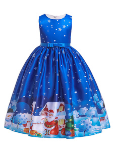 Crianças Natal Cosplay Floco de neve Papai Noel Blue Dress Crianças Cosplay Costumes