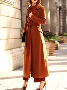 المرأة معطف القهوة البني كي طوق أزرار الأكمام الطويلة معقود معطف التفاف عارضة