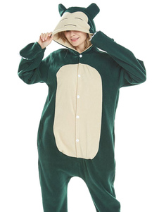 Snorlax Kigurumi Onesie flanela Pokemon Button Up Jumpsuit