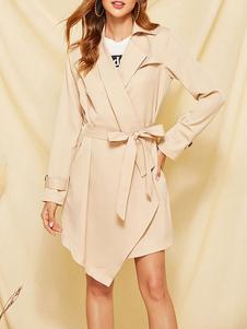 المرأة ملابس خارجية طوق الأكمام الطويلة غير المتكافئة معطف الشتاء