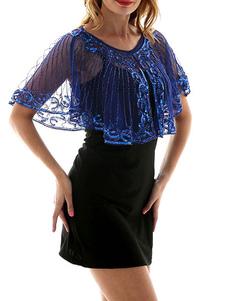 1920s العظمى غاتسبي كيب الزعنفة اللباس المعطف الأزرق الترتر شير النساء retron التبعي