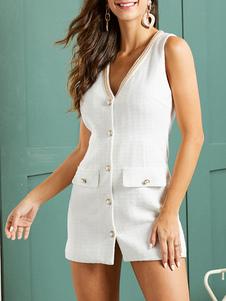Mini Vestidos Branco Sem Mangas Botões Vestido Curto
