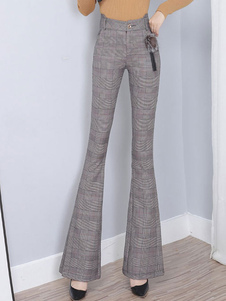 Pantaloni Bottoni grigio chiaro Pantaloni scozzesi in cotone a vita naturale