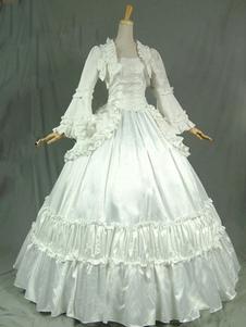 الفيكتوري ريترو ازياء المرأة الكشكشة القوس الحرير اللباس 18 القرن حلي