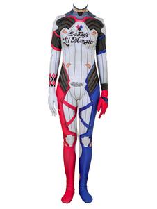 Carnaval Suicide Squad Cosplay Harley Quinn Red Lycra Spandex Leotard DC Comics Cosplay Disfraz
