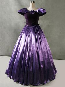 Disfraz Carnaval Victorian Retro Costumes Ruffles Velour Dress Cap Sleeve Mujer Ropa vintage Carnaval