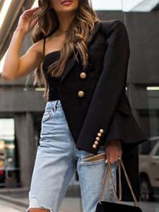 ブレザー アイボリー  ポリエステル トレンチコート レディースアウター 長袖 折り襟 ショート/ミニ ボタン クラシック&トラディション レディースファッション