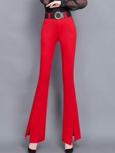 Pantaloni Pantaloni a vita naturale con spacco frontale rosso