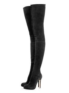 """Mulheres Sexy Coxa Botas de cano alto Dedo do pé redondo preto 4.7 """"Salto agulha inverno sobre as botas de joelho"""