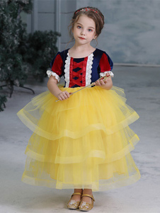 Детский Хэллоуин Косплей Белоснежка Желтое Платье Малыш Принцесса Косплей Костюмы
