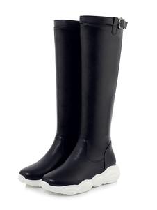 Botas até o joelho das mulheres Sapatilha branca plana Botas atléticas casuais na altura do joelho