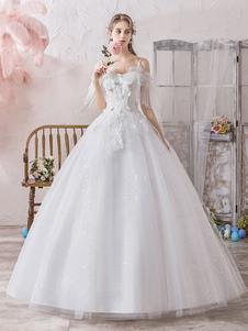 Corte de baile Vestido de novia Princesa Silueta Fuera del hombro Mangas cortas Cintura natural Hasta el suelo Vestidos de novia