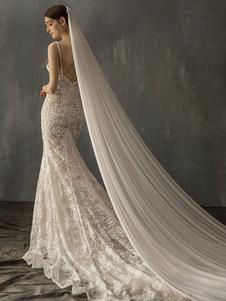الحجاب الزفاف طبقة واحدة ليكرا دنة قطع حافة الحجاب الزفاف الكلاسيكية