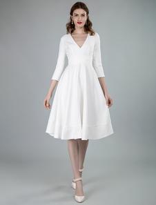 فساتين زفاف قصيرة الخامس الرقبة 3/4 طول الأكمام ألف خط طول الركبة فستان الزفاف