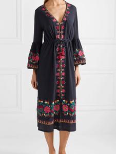 Vestido Boho negro Vestido de verano con mangas de campana con cuello en V con borlas con cordón bordado