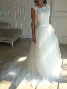 Vestido de novia 2020 Jewel Neck Linea A Apliques de encaje sin mangas Tul Vestidos de novia con cola larga