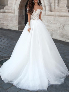 Vestido de novia de la princesa 2020 Vestido de gala Cuello cariño Mangas largas Vestidos de novia de tul de encaje sin respaldo con cola larga