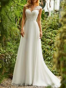Vestidos de novia simples 2020 Chiffon Linea A Cuello en V Sin mangas Vestidos de novia con cuentas de encaje con cola larga