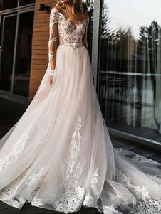 Vestidos De Noiva 2020 A Linha Decote Em V Manga Comprida Lace Applique Vestidos De Noiva De Tule Com Cauda Da Capela