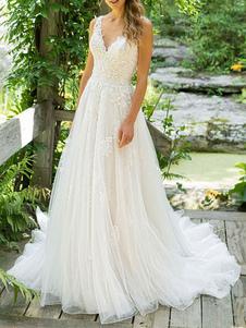 Vestido De Noiva Tipo Simples 2020 Linha A Decote Em V Mangas Até O Chão Praia Vestidos De Noiva Com Cauda