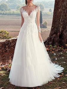 Свадебное платье с V-образным вырезом с длинными рукавами и кружевными аппликациями длиной до пола, свадебные платья с шлейфом