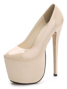 Женская сексуальная обувь на платформе с круглым носком на высоком каблуке
