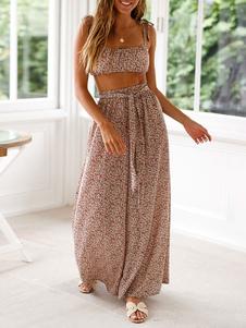 Conjunto de dos piezas Cami Top estampado rosa con pantalón ancho Boho Outfit para mujer