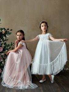 Una niña Fiesta de la Línea de flores vestido de la llamarada de la manga blanca vestido de dama
