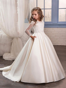 First Communion Dresses Long Sleeve Lace Flower Girl Dresses Balll Gowns For Girls