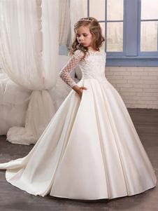 Vestidos de primera comunión manga larga vestidos de niña de encaje para la boda de la Santa Comunión vestidos del desfile de los vestidos para niñas