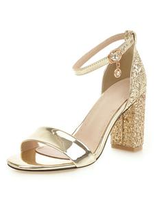 Bloco Sandálias de Salto Dourado Toe Aberto Duas Peças Sandálias com Tira no Tornozelo Mulheres Sandálias de Salto Alto