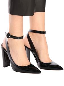 Scarpe eleganti da donna con tacco alto e cinturino alla caviglia con tacchi a punta neri