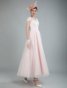 Vintage свадебное платье до щиколотки с коротким рукавом кружева свадебное платье