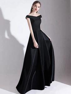 Vestido de noche A Line Bateau Neck Satin Fabric Hasta el suelo Vestidos de fiesta formales