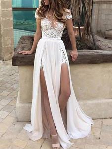 Vestidos De Noiva Boho 2020 Chiffon Profundo Decote Em V Manga Curta Lace Applique Frente Dividida Praia Vestidos De Noiva