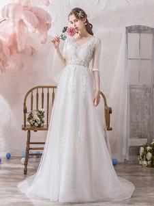 Простое свадебное платье с V-образным вырезом с длинными рукавами и кружевными аппликациями из тюля Свадебные платья