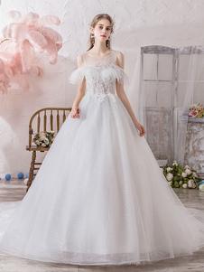 فستان زفاف الأميرة خيال جوهرة الرقبة قصيرة الأكمام الخصر الطبيعية كاتدرائية قطار فساتين الزفاف