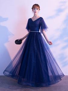 Vestido de noite A Linha V Neck Matte Satin Floor Length Sequins Vestidos de festa formais