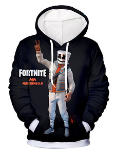Fortnite Trajes Cosplay Adulto Preto Moletom Com Capuz