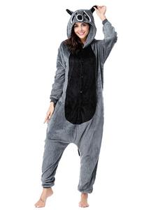 Kigurumi Pijamas Onesie Raccoon Adult Deep Grey Flannel Easy Toilet Winter Sleepwear Animal Costume Halloween
