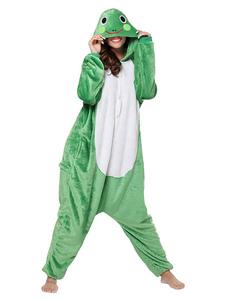 Kigurumi Onesie Пижамная лягушка для взрослых Зеленый фланелевый легкий туалетный комбинезон Kigurumi Costumes
