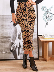 المرأة تنورة ليوبارد ليوبارد طباعة جميلة الخصر الطبيعية مثير
