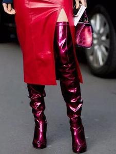 """المرأة الفخذ أحذية عالية براءات الاختراع والجلود بورجوندي أشار تو 4.3 """"كعب خنجر فوق الركبة الأحذية"""