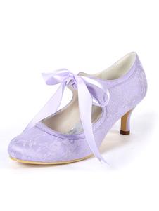 """المرأة خمر أحذية الزفاف الدانتيل هريرة كعب 2.4 """"أحذية الزفاف"""
