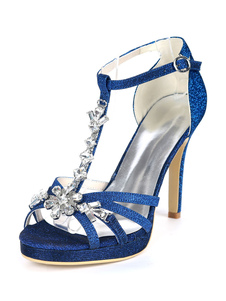 Zapatos de noche para mujer Sandalias de tacón alto Con lentejuelas Punta abierta Zapatos de diamantes de imitación de tipo T para fiesta