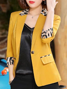 Mulheres Blazer Chique Turndown Collar Buttons Mangas compridas Leopard Print Layered